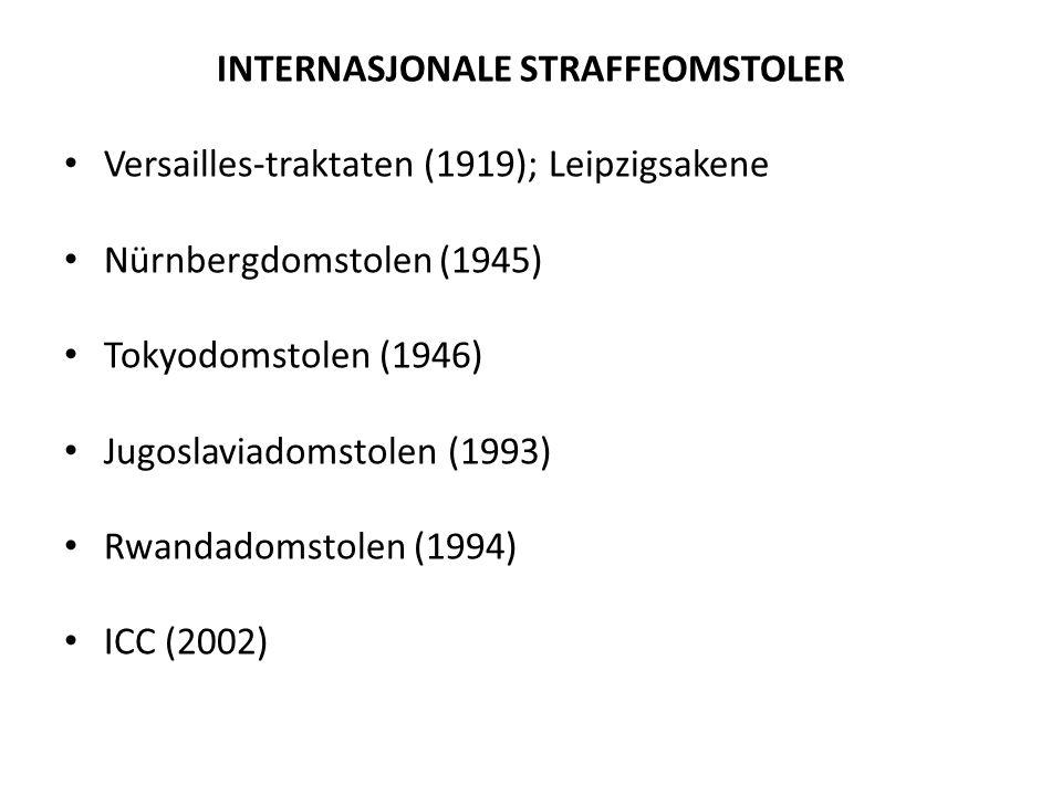 INTERNASJONALE STRAFFEOMSTOLER • Versailles-traktaten (1919); Leipzigsakene • Nürnbergdomstolen (1945) • Tokyodomstolen (1946) • Jugoslaviadomstolen (1993) • Rwandadomstolen (1994) • ICC (2002)