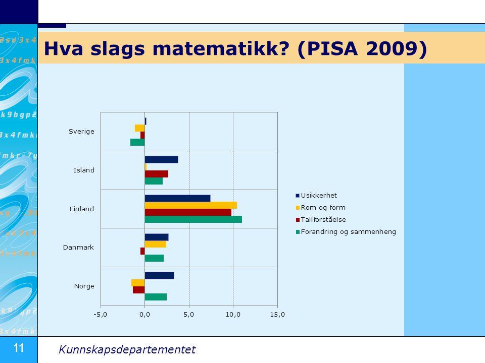 11 Kunnskapsdepartementet Hva slags matematikk (PISA 2009)