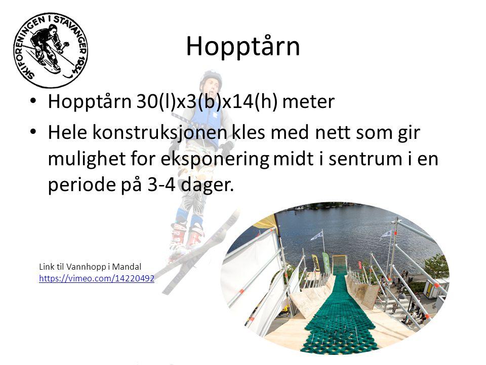 Hopptårn • Hopptårn 30(l)x3(b)x14(h) meter • Hele konstruksjonen kles med nett som gir mulighet for eksponering midt i sentrum i en periode på 3-4 dager.