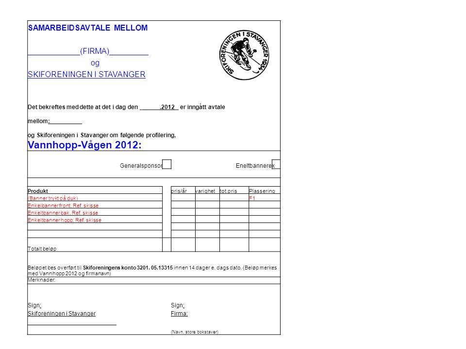 SAMARBEIDSAVTALE MELLOM ____________(FIRMA)_________ og SKIFORENINGEN I STAVANGER Det bekreftes med dette at det i dag den _____.2012 er inngått avtale mellom: _________ og Skiforeningen i Stavanger om følgende profilering, Vannhopp-Vågen 2012: Generalsponsor Eneltbannerex Produktpris/årvarighettot.prisPlassering (Banner trykt på duk) F1 Enkelbanner front.
