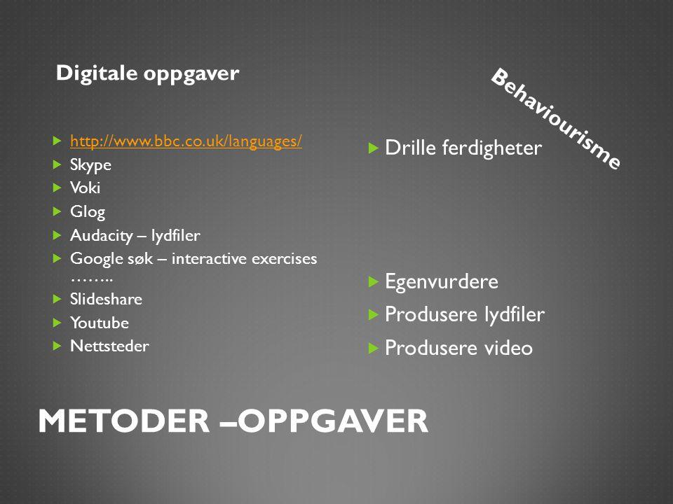 METODER –OPPGAVER Digitale oppgaverBehaviourisme  http://www.bbc.co.uk/languages/ http://www.bbc.co.uk/languages/  Skype  Voki  Glog  Audacity –