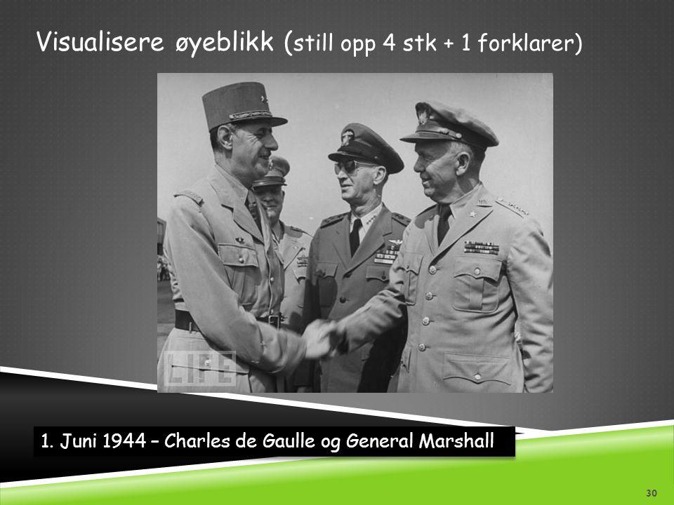 1. Juni 1944 – Charles de Gaulle og General Marshall Visualisere øyeblikk ( still opp 4 stk + 1 forklarer) 30