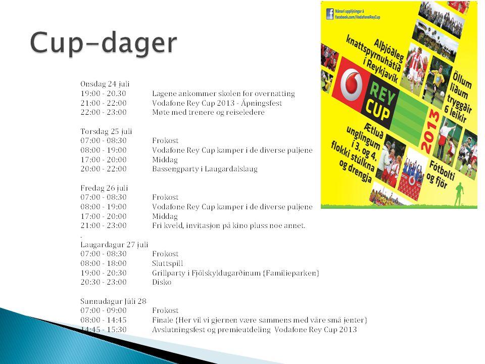 05:00Vi hentes på hotell og skole 08:00Avreise fra Keflavik til Værnes 14:05Ankomst Værnes/Hommelvik