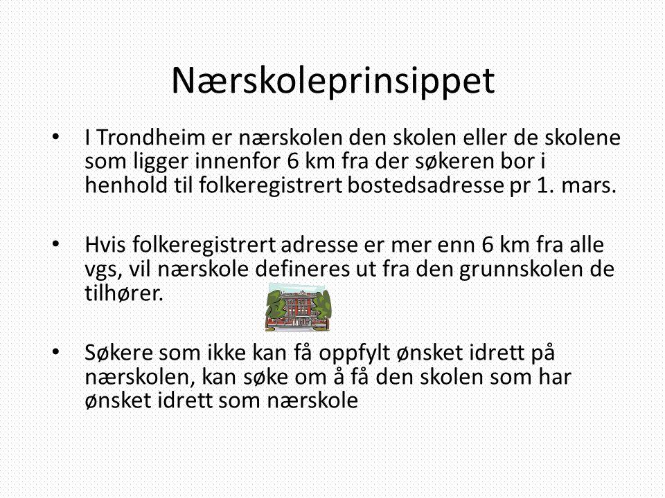 Nærskoleprinsippet • I Trondheim er nærskolen den skolen eller de skolene som ligger innenfor 6 km fra der søkeren bor i henhold til folkeregistrert b
