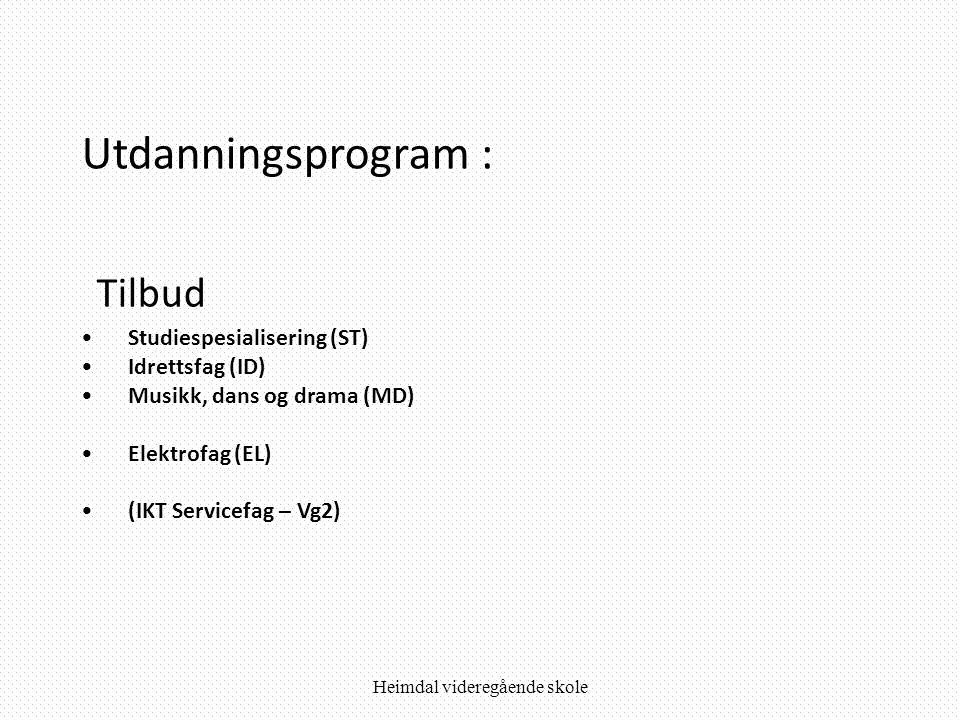 Utdanningsprogram : Tilbud •Studiespesialisering (ST) •Idrettsfag (ID) •Musikk, dans og drama (MD) •Elektrofag (EL) •(IKT Servicefag – Vg2)