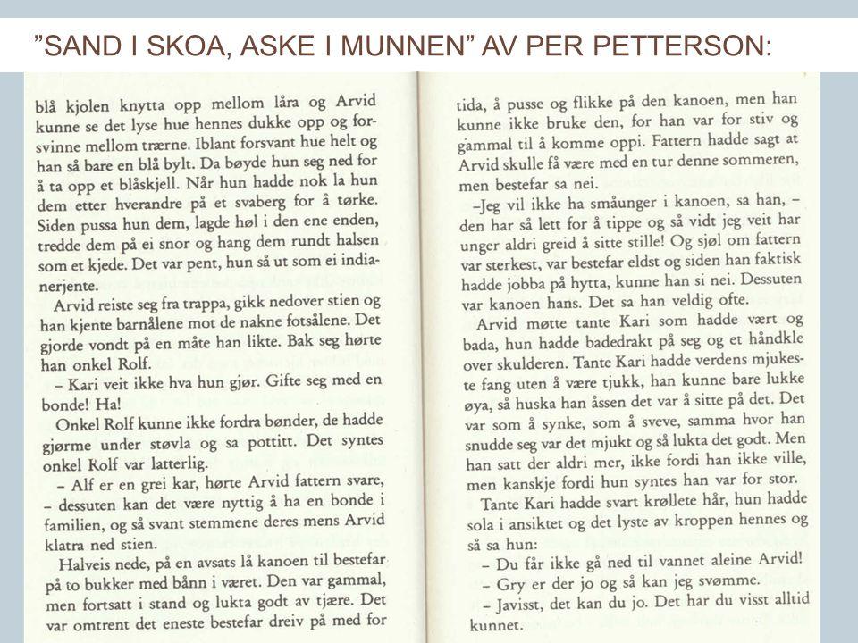 LESER SØKER BOK SAND I SKOA, ASKE I MUNNEN AV PER PETTERSON: