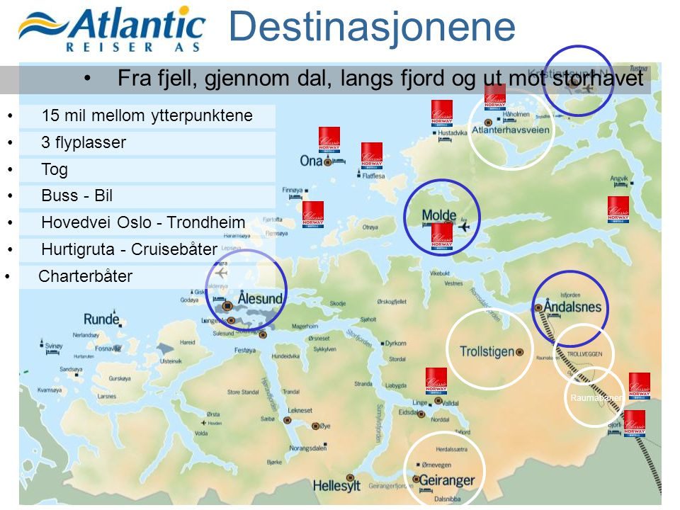 Destinasjonene Raumabanen •Fra fjell, gjennom dal, langs fjord og ut mot storhavet •15 mil mellom ytterpunktene •3 flyplasser •Tog •Buss - Bil •Hovedv