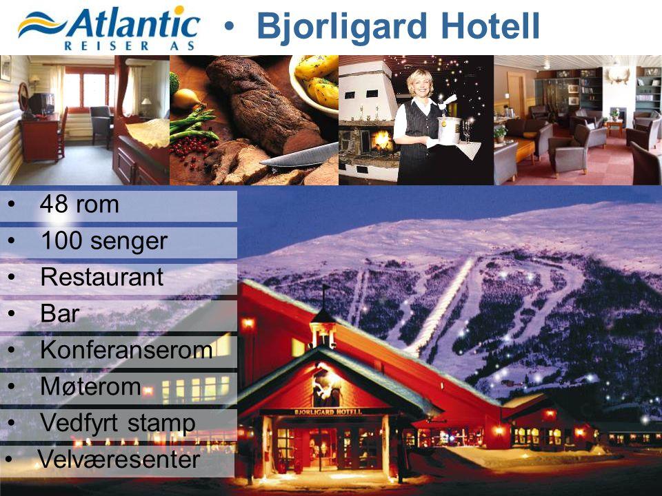 •48 rom •100 senger •Restaurant •Bar •Konferanserom •Møterom •Vedfyrt stamp •Velværesenter
