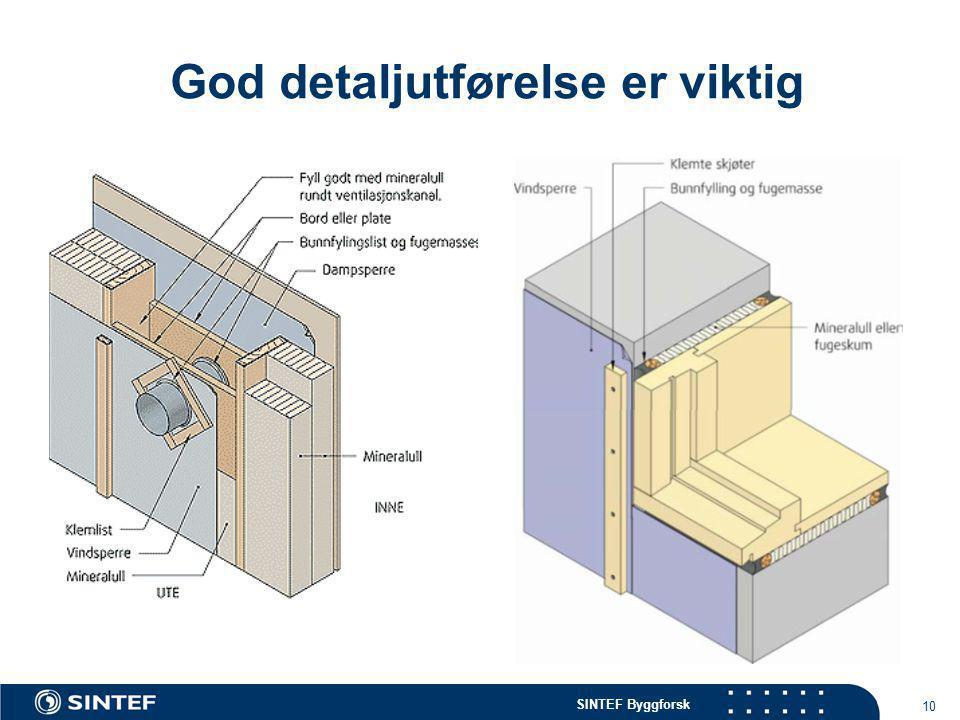 SINTEF Byggforsk 10 God detaljutførelse er viktig