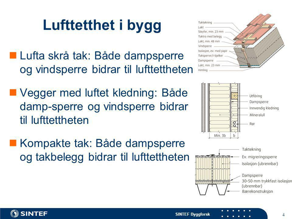 SINTEF Byggforsk 4 Lufttetthet i bygg  Lufta skrå tak: Både dampsperre og vindsperre bidrar til lufttettheten  Vegger med luftet kledning: Både damp