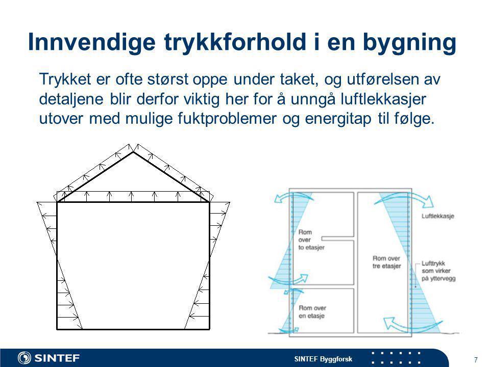 SINTEF Byggforsk 7 Innvendige trykkforhold i en bygning Trykket er ofte størst oppe under taket, og utførelsen av detaljene blir derfor viktig her for