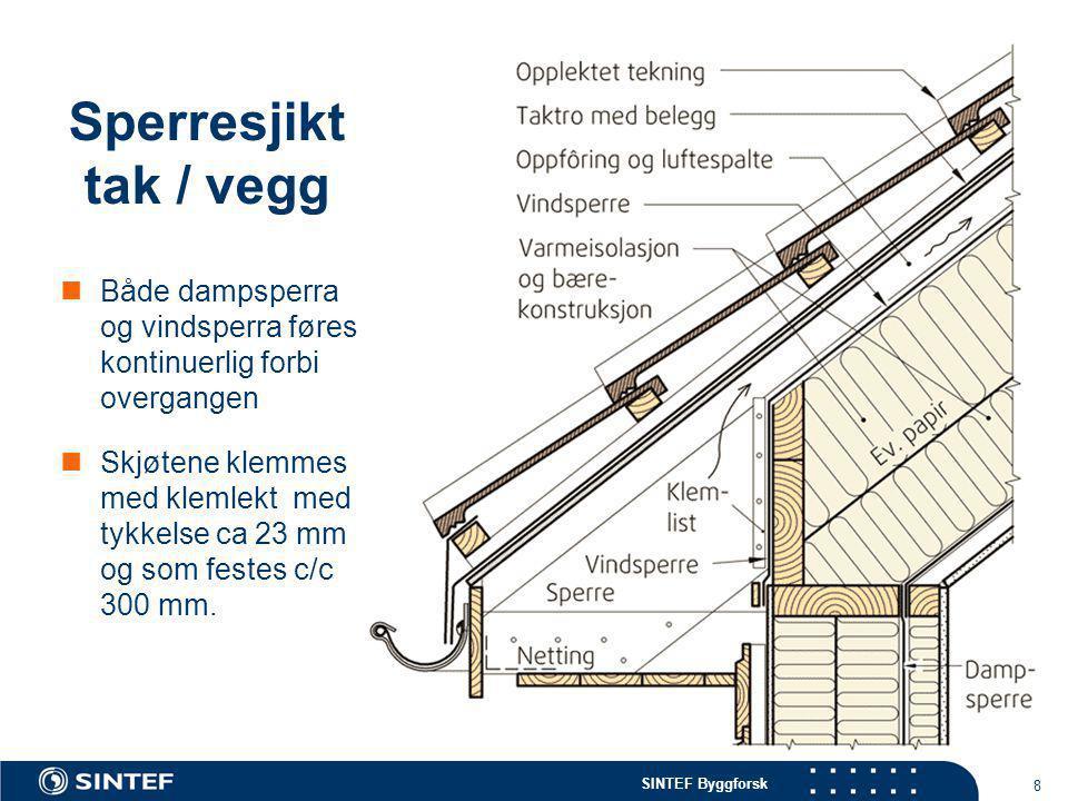 SINTEF Byggforsk 8 Sperresjikt tak / vegg  Både dampsperra og vindsperra føres kontinuerlig forbi overgangen  Skjøtene klemmes med klemlekt med tykk