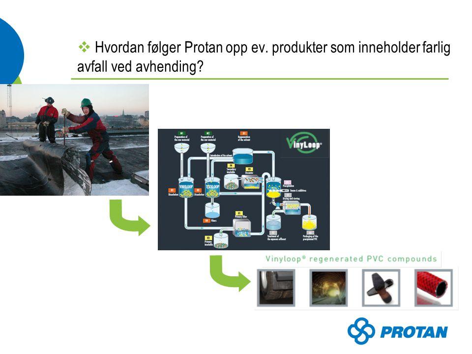  Hvordan følger Protan opp ev. produkter som inneholder farlig avfall ved avhending