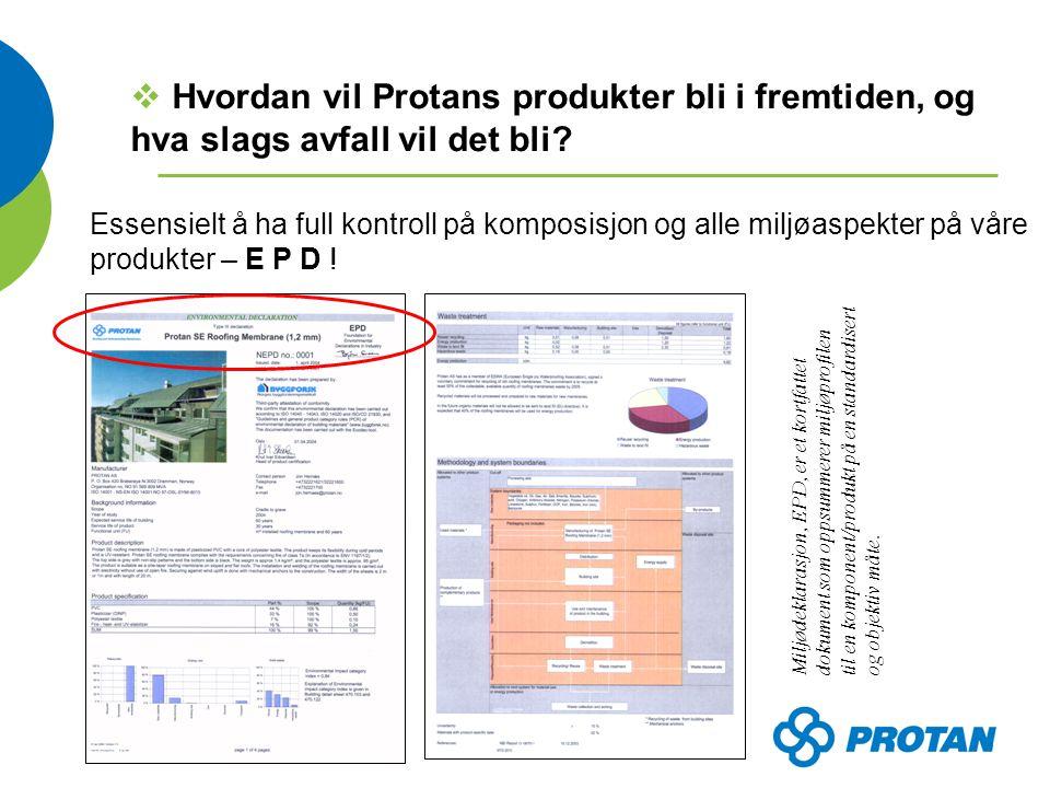 Essensielt å ha full kontroll på komposisjon og alle miljøaspekter på våre produkter – E P D .