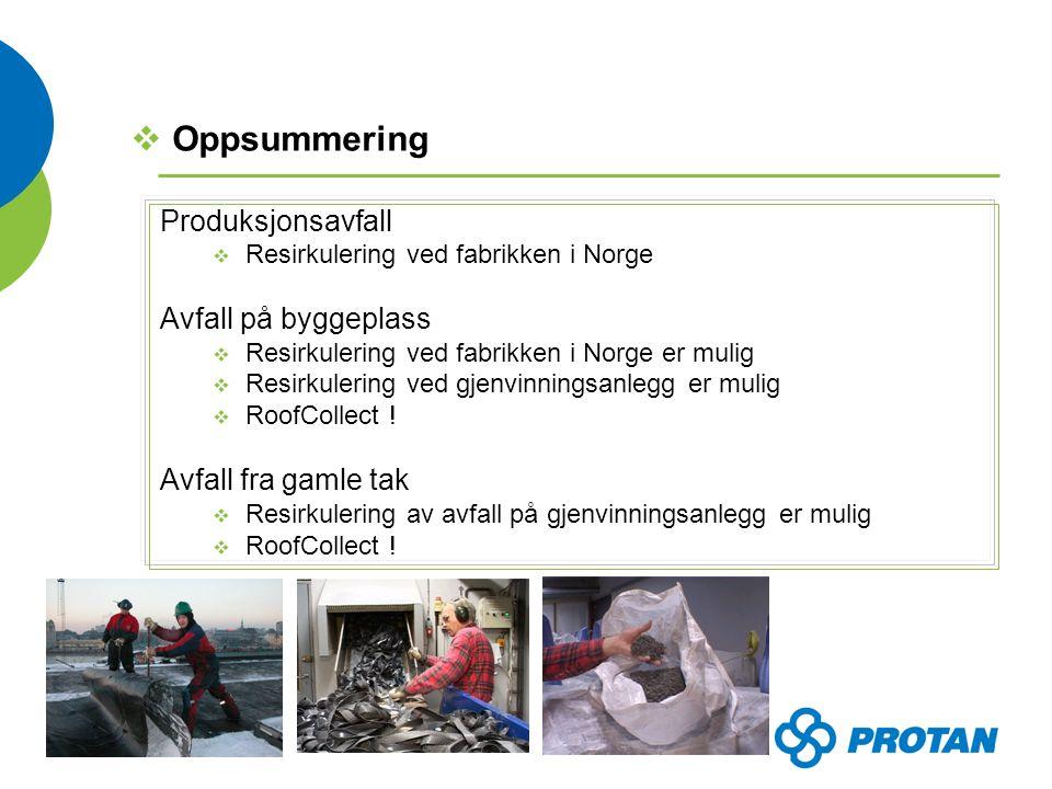 Produksjonsavfall  Resirkulering ved fabrikken i Norge Avfall på byggeplass  Resirkulering ved fabrikken i Norge er mulig  Resirkulering ved gjenvinningsanlegg er mulig  RoofCollect .
