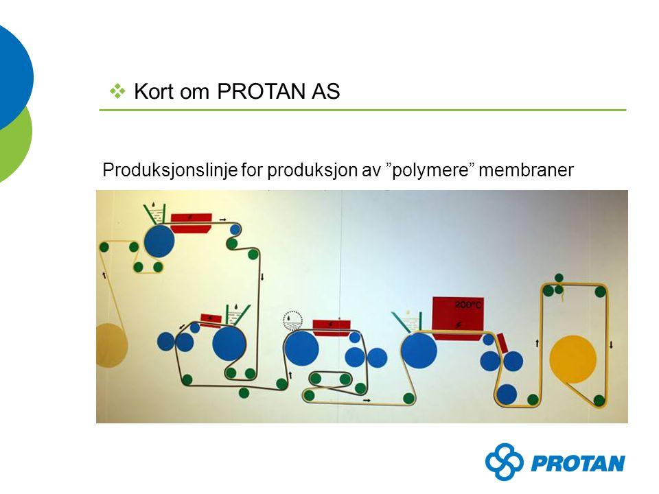 Produksjonslinje for produksjon av polymere membraner  Kort om PROTAN AS