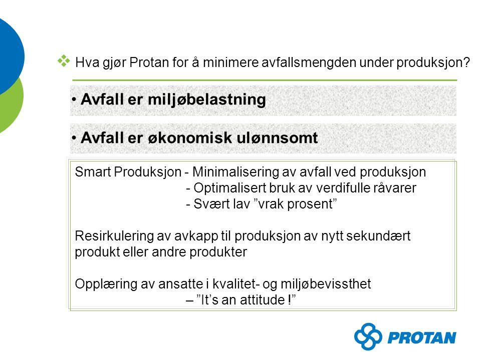  Hva gjør Protan for å minimere avfallsmengden ved avhending.