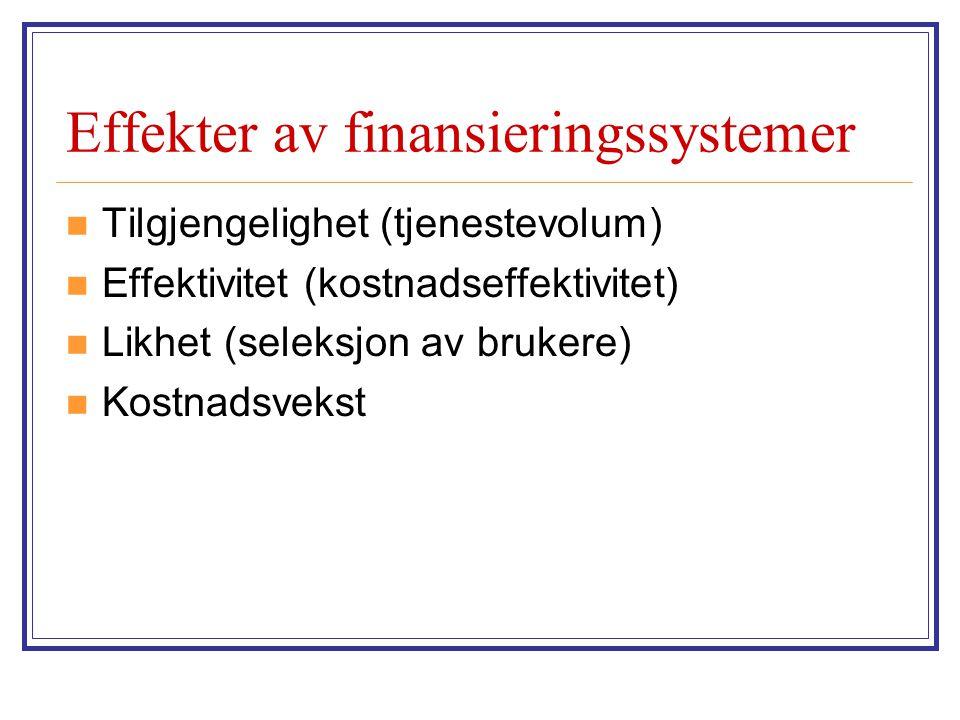 Effekter av finansieringssystemer  Tilgjengelighet (tjenestevolum)  Effektivitet (kostnadseffektivitet)  Likhet (seleksjon av brukere)  Kostnadsve