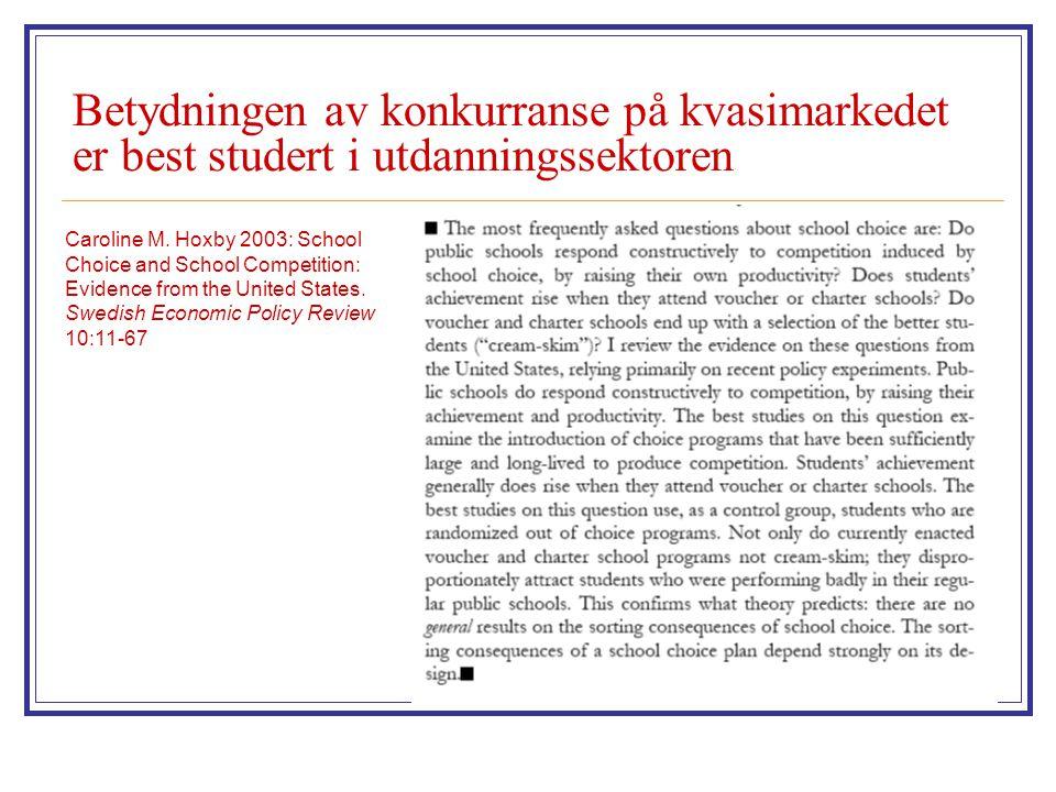 Betydningen av konkurranse på kvasimarkedet er best studert i utdanningssektoren Caroline M. Hoxby 2003: School Choice and School Competition: Evidenc