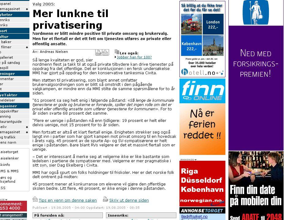 Tilfredshet med sykehus 2000-2003 Svar gitt på en skala 1-6 der 1 = svært misfornøyd og 6 = svært fornøyd Kilde: Carlsen og Grytten (2005): http://www.tidsskriftet.no/pls/lts/PA_LT.VisSeksjon?vp_SEKS_ID=1234767http://www.tidsskriftet.no/pls/lts/PA_LT.VisSeksjon?vp_SEKS_ID=1234767