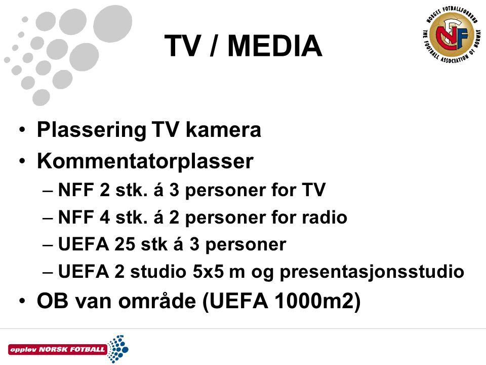 TV / MEDIA •Plassering TV kamera •Kommentatorplasser –NFF 2 stk. á 3 personer for TV –NFF 4 stk. á 2 personer for radio –UEFA 25 stk á 3 personer –UEF