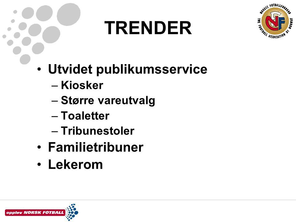 TRENDER •Utvidet publikumsservice –Kiosker –Større vareutvalg –Toaletter –Tribunestoler •Familietribuner •Lekerom