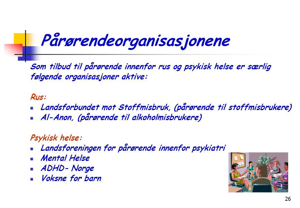 26 Pårørendeorganisasjonene Som tilbud til pårørende innenfor rus og psykisk helse er særlig følgende organisasjoner aktive: Rus:  Landsforbundet mot Stoffmisbruk, (pårørende til stoffmisbrukere)  Al-Anon, (pårørende til alkoholmisbrukere) Psykisk helse:  Landsforeningen for pårørende innenfor psykiatri  Mental Helse  ADHD- Norge  Voksne for barn