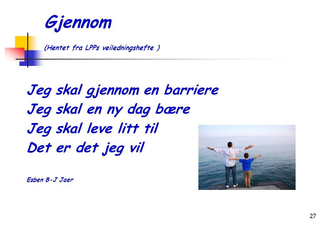 27 Gjennom (Hentet fra LPPs veiledningshefte ) Jeg skal gjennom en barriere Jeg skal en ny dag bære Jeg skal leve litt til Det er det jeg vil Esben B-J Jaer
