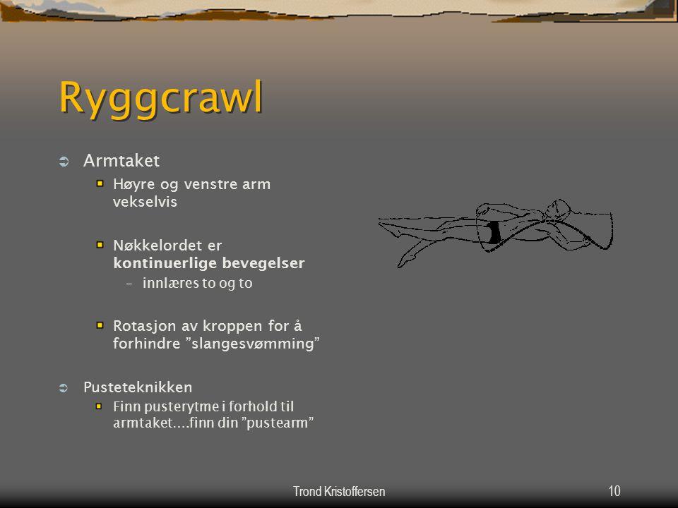 Trond Kristoffersen9 Ryggcrawl  Beinsparket Samme mrtodikk som for begynnersvømming på mage / rygg Øve beinspark til en oppnår tilstrekkelig ferdighe