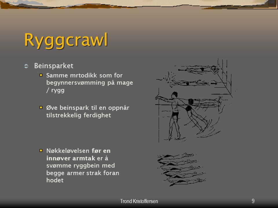 Trond Kristoffersen8 Ryggcrawl  Kroppens leie i vannet Så flatt som teknikken tillater  Kroppsholdningen Linjeholdning  Koordinering av delbevegels