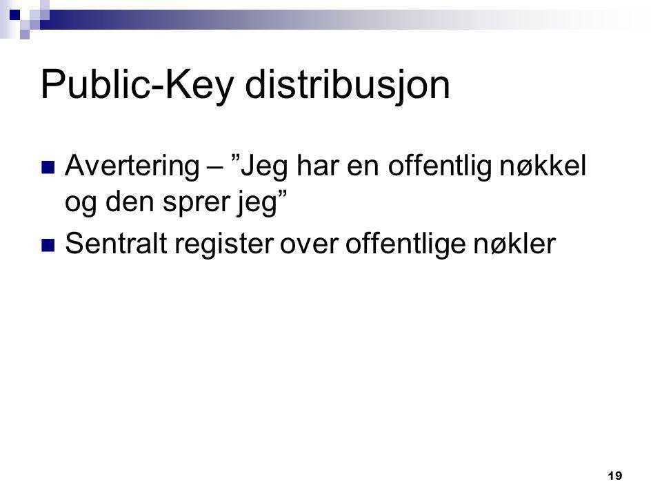 19 Public-Key distribusjon  Avertering – Jeg har en offentlig nøkkel og den sprer jeg  Sentralt register over offentlige nøkler