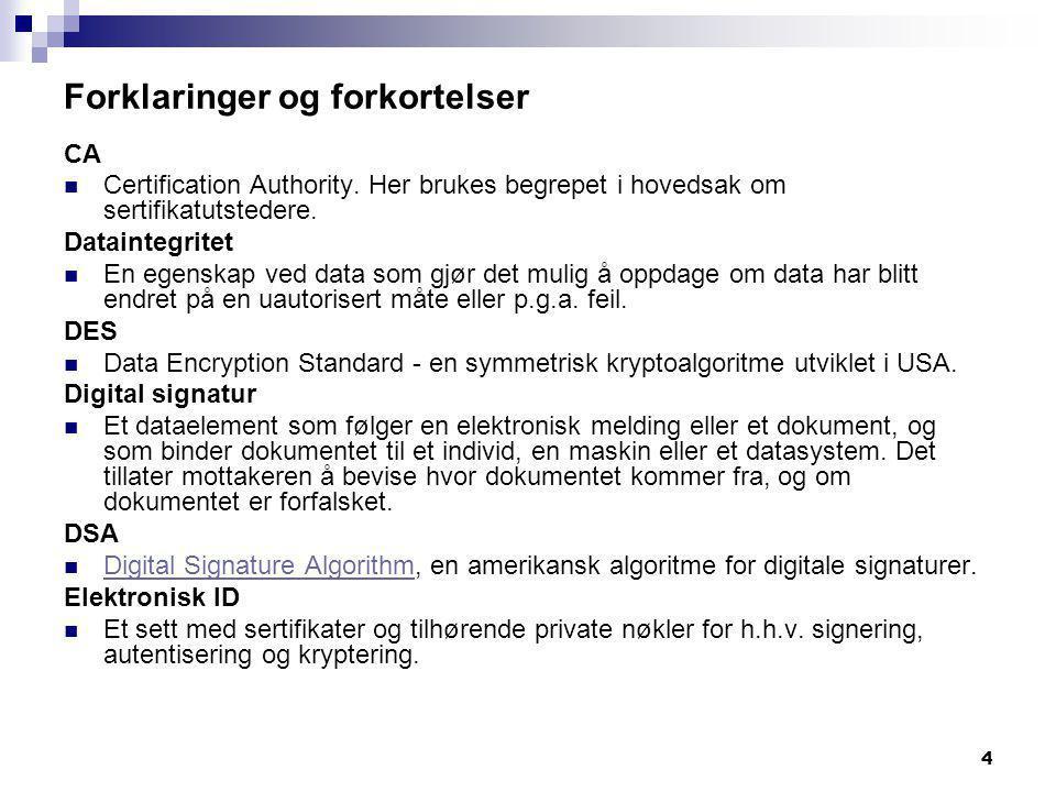 5 Forklaringer og forkortelser Elektronisk ID  Et sett med sertifikater og tilhørende private nøkler for h.h.v.
