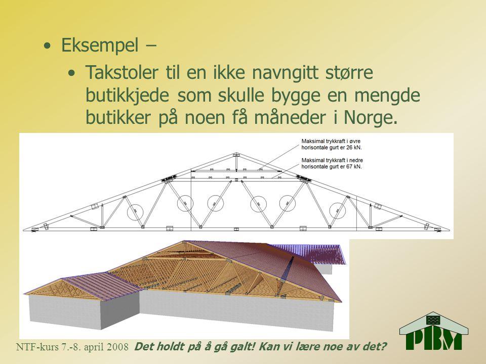 •Eksempel – •Takstoler til en ikke navngitt større butikkjede som skulle bygge en mengde butikker på noen få måneder i Norge. NTF-kurs 7.-8. april 200