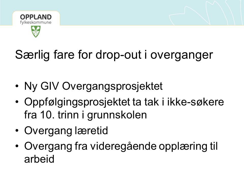 Særlig fare for drop-out i overganger •Ny GIV Overgangsprosjektet •Oppfølgingsprosjektet ta tak i ikke-søkere fra 10.
