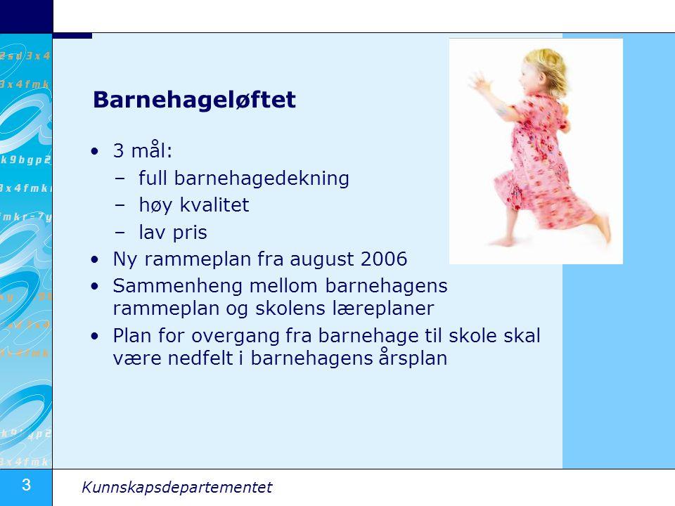 3 Kunnskapsdepartementet Barnehageløftet •3 mål: –full barnehagedekning –høy kvalitet –lav pris •Ny rammeplan fra august 2006 •Sammenheng mellom barne