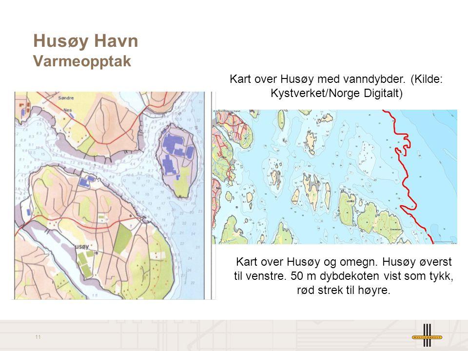 11 Husøy Havn Varmeopptak Kart over Husøy og omegn. Husøy øverst til venstre. 50 m dybdekoten vist som tykk, rød strek til høyre. Kart over Husøy med
