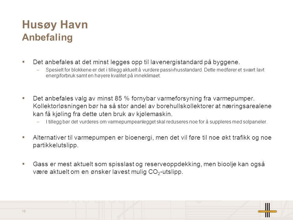 19 Husøy Havn Anbefaling  Det anbefales at det minst legges opp til lavenergistandard på byggene. –Spesielt for blokkene er det i tillegg aktuelt å v