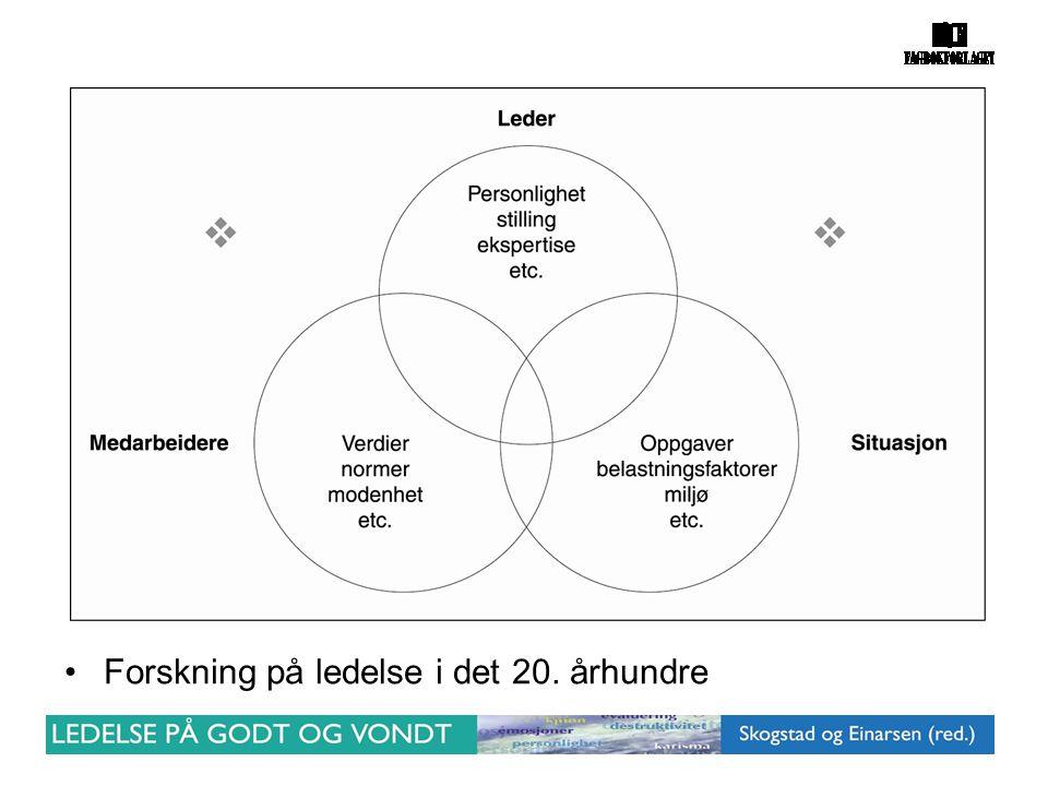 •Forskning på ledelse i det 20. århundre