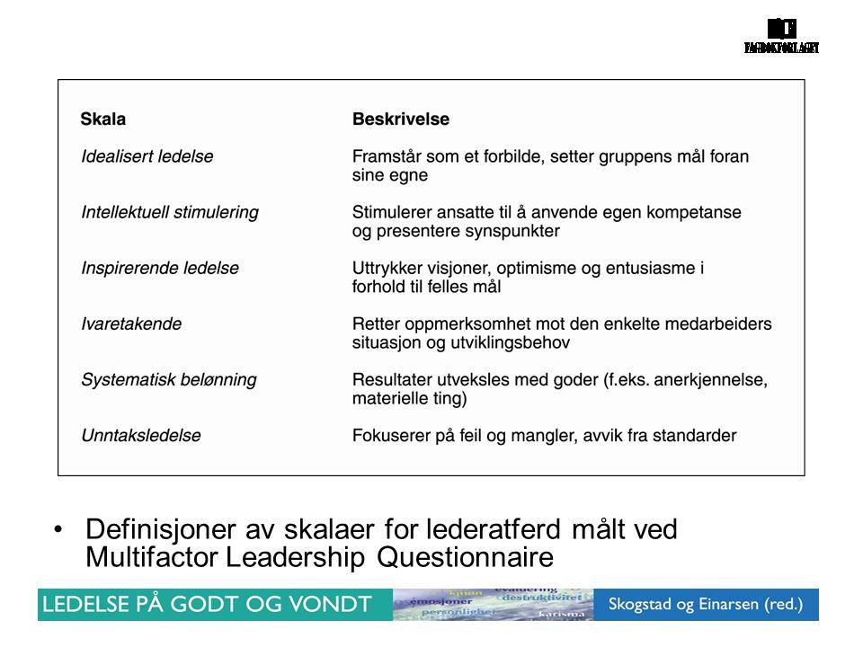 •Definisjoner av skalaer for lederatferd målt ved Multifactor Leadership Questionnaire