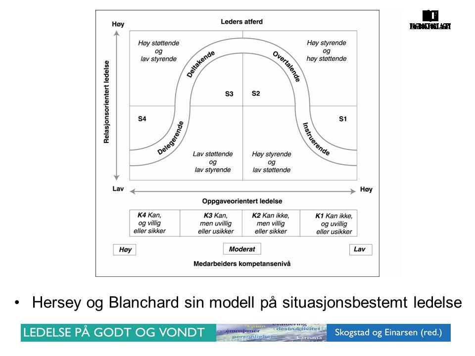 •Hersey og Blanchard sin modell på situasjonsbestemt ledelse