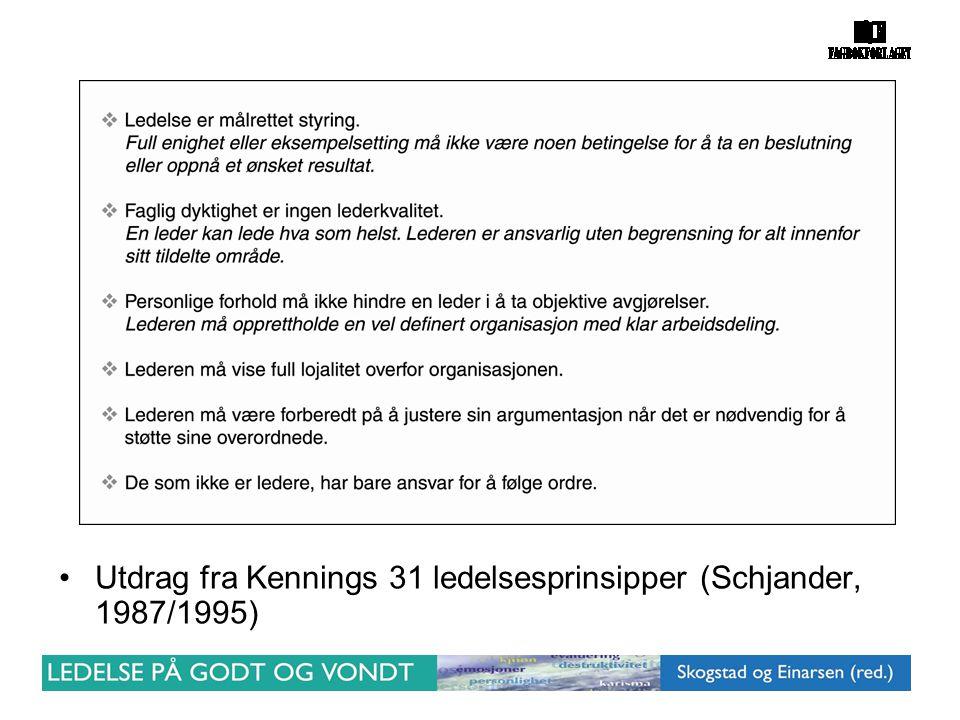 •Utdrag fra Kennings 31 ledelsesprinsipper (Schjander, 1987/1995)