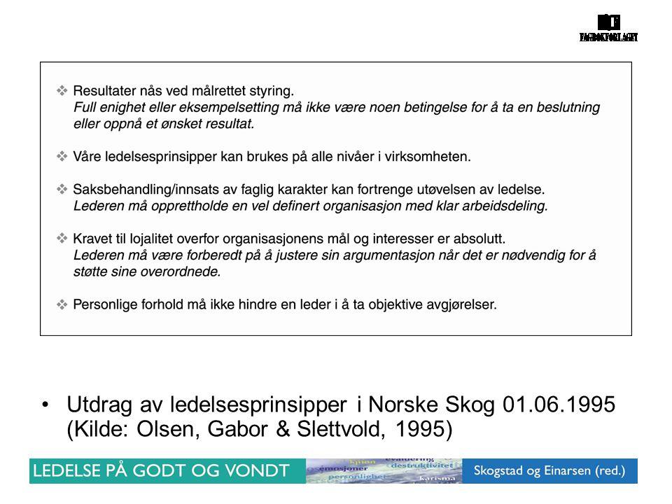 •Utdrag av ledelsesprinsipper i Norske Skog 01.06.1995 (Kilde: Olsen, Gabor & Slettvold, 1995)