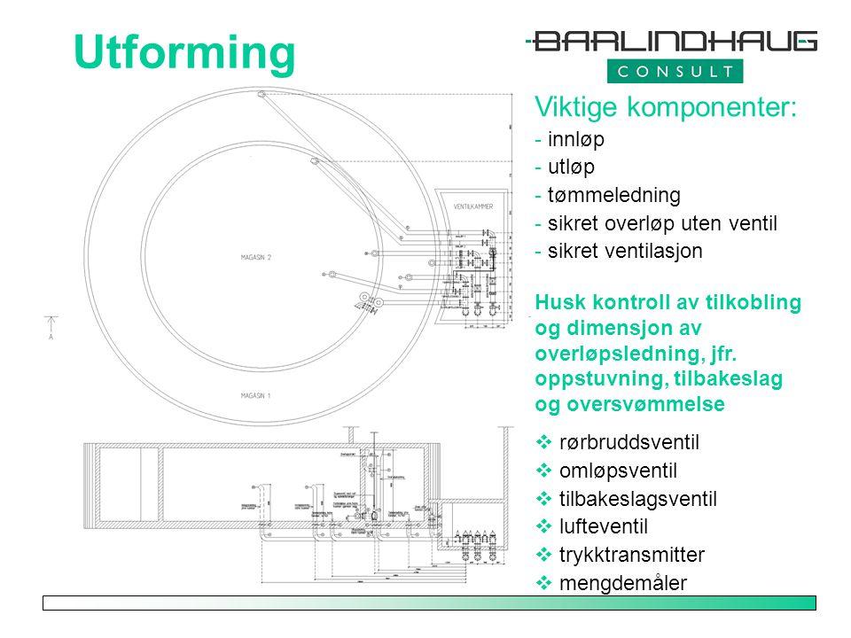 Utforming Viktige komponenter: - innløp - utløp - tømmeledning - sikret overløp uten ventil - sikret ventilasjon Husk kontroll av tilkobling og dimens