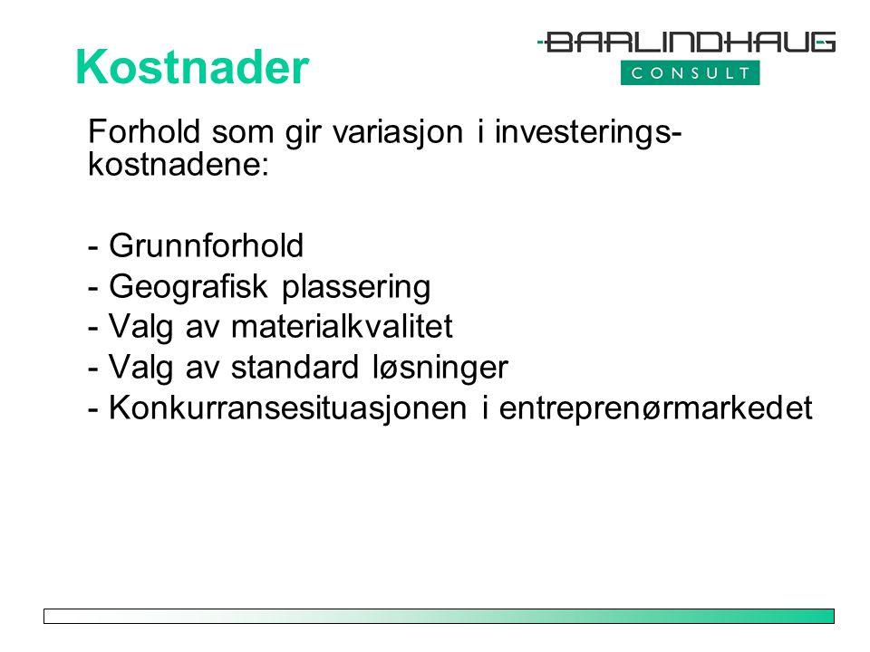 Kostnader Forhold som gir variasjon i investerings- kostnadene: - Grunnforhold - Geografisk plassering - Valg av materialkvalitet - Valg av standard l