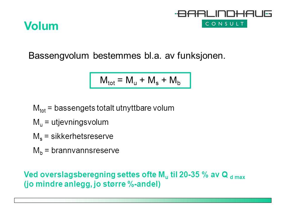 Volum Bassengvolum bestemmes bl.a. av funksjonen. M tot = M u + M s + M b M tot = bassengets totalt utnyttbare volum M u = utjevningsvolum M s = sikke