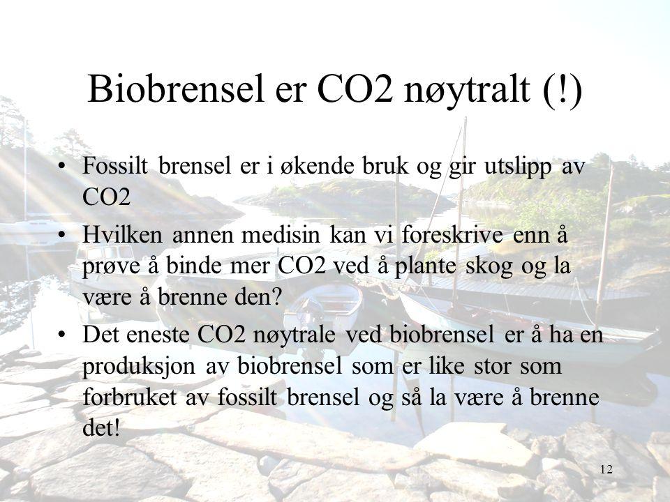 12 Biobrensel er CO2 nøytralt (!) •Fossilt brensel er i økende bruk og gir utslipp av CO2 •Hvilken annen medisin kan vi foreskrive enn å prøve å binde