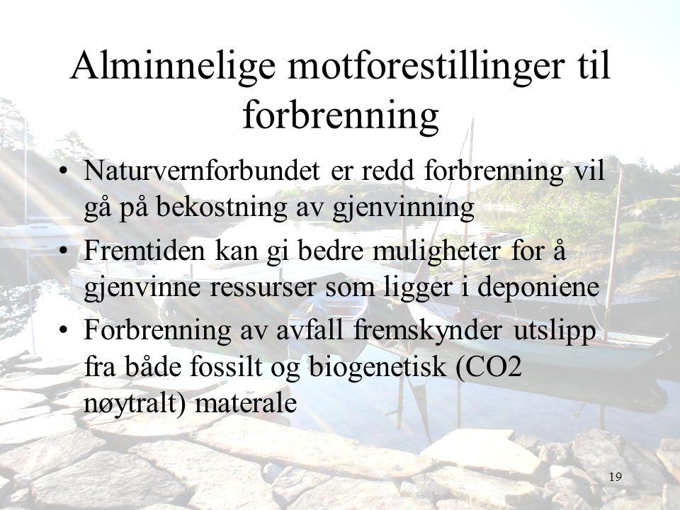 19 Alminnelige motforestillinger til forbrenning •Naturvernforbundet er redd forbrenning vil gå på bekostning av gjenvinning •Fremtiden kan gi bedre m