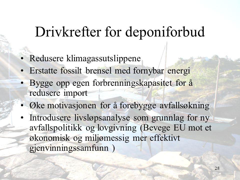 28 Drivkrefter for deponiforbud •Redusere klimagassutslippene •Erstatte fossilt brensel med fornybar energi •Bygge opp egen forbrenningskapasitet for