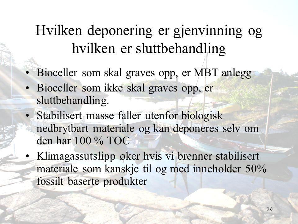 29 Hvilken deponering er gjenvinning og hvilken er sluttbehandling •Bioceller som skal graves opp, er MBT anlegg •Bioceller som ikke skal graves opp,