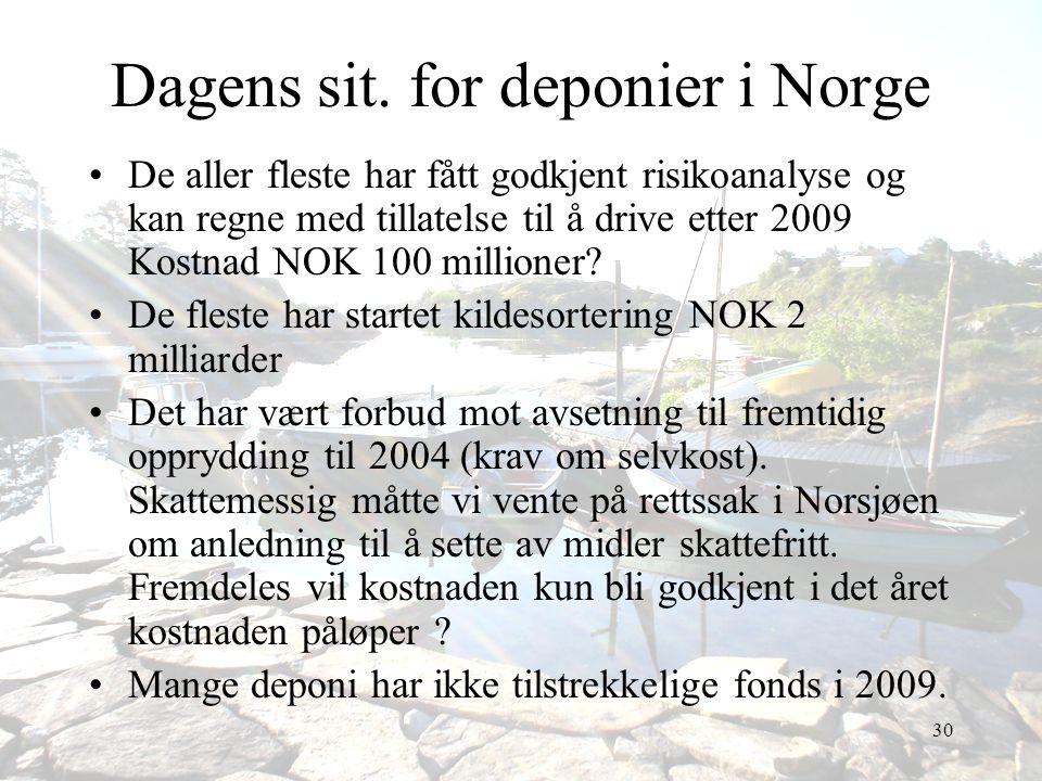 30 Dagens sit. for deponier i Norge •De aller fleste har fått godkjent risikoanalyse og kan regne med tillatelse til å drive etter 2009 Kostnad NOK 10
